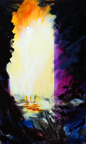 """Rose-Marie Goodwin, UNVEILED, 48""""x 36"""", acrylic on canvas  www.rose-marie-paintings.com  First Baptist Church, Vancouver, British Columbia"""