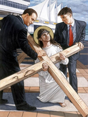 Jesus Takes Up the Cross is one of the Stations of the Cross series by Chris Wood.