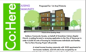 The Co:Here Housing Community plans to develop 26 units of affordable community housing on land owned by Grandview at 1st and Victoria.