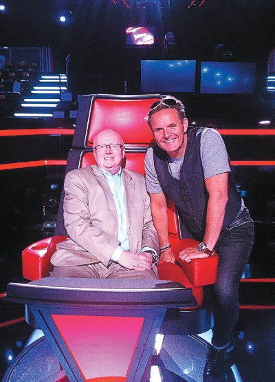 Geoff Tunnicliffe with Mark Burnett on the set of The Voice.