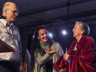 Mary Charles (right) welcomed Missions Fest to the traditional unceded territory of the Coast Salish First Nations. With her are John Hall and Cheryl Bear.