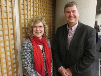 Karen Hamilton and Bruce Clemenger, leaders of the Canadian Council of Churches and the Evangelical Fellowship of Canada, work cooperatively on a number of projects, including 'Our Whole World.'
