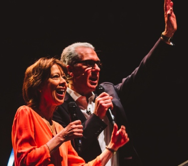 Nicky Gumbel with his wife Pippa at the Alpha Leadership conference.