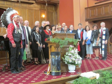 Several Indigenous leaders, including former Assembly of First Nations leader Shawn Atleo, joined eight downtown pastors for an ecumenical prayer service at First Baptist Church.