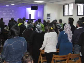This service at a Baptist church in Beirut had a strong contingent of Muslim-background people attending.