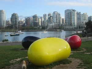 A current view towards Downtown from the south shore of False Creek.