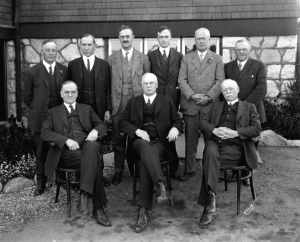 All the reeves of Point Grey who served between 1908 and 1924 at Kerrisdale Municipal Hall in 1924. Photo by W.J. Moore. (Vancouver Archives: Reference Code AM54-S4-: Port N307