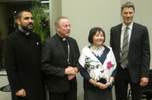 Fr. Hrant Tahanian and Rev. Mary Fontaine were two of the three panelists with Gregor Robertson and Michael Miller.