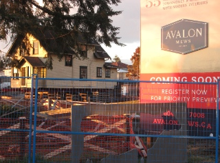 Avalon Mews is being built on the site of the old Avalon Dairy Farm. The farm house sits on supports; it will be part of the development.
