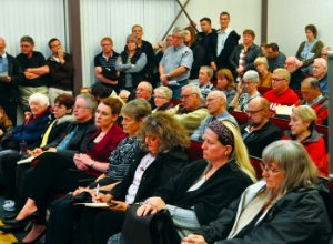 It was standing room only in the gallery.