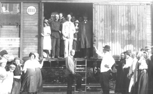 B. B. Janz supervising the immigration of Mennonites to Canada, early 1920s. Image courtesy of the Mennonite Historical Society of British Columbia: 2013.002.019.