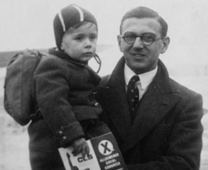 Nicholas Winton with a rescued child in a still from the 2011 documentary 'Nicky's Family.'