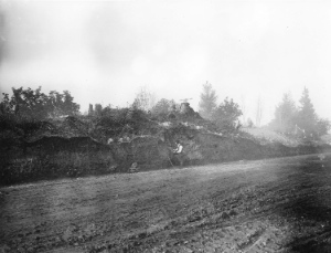 This 1908 photo shows that Marine Drive cut right through the Great Fraser Midden of the Musqueam people. Vancouver Archives: CVA 677-574