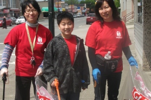 Volunteers from Vancouver Chinese Baptist Church help clean up Victoria Drive. Photo from Victoria Drive BIA site.