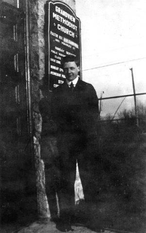 Amateur photographer Walter Edwin Frost at entrance to Grandview Methodist Church - 1895 Venables Street, now the Vancouver Cultural Centre. Vancouver Archives: AM1506-S1-: CVA 447-6 (photo: W.E. Frost).