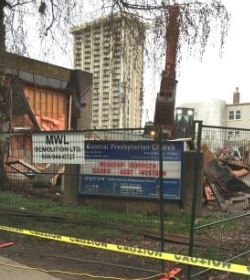 Central Presbyterian Church on Thurlow was demolished January 19.
