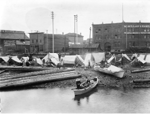 First Nations People Camped on Alexander Street Beach at the foot of Columbia Street. City of Vancouver Archives:  AM54-S4-: IN N12