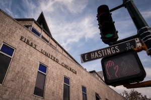 First United is on the southeast corner of Hastings and Gore.