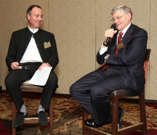 Murray Neilson (left) conducted a pleasant interview/chat with Tom Monaghan, founder of Domino's Pizza, and of Legatus. Photo by Patrick Novecosky.