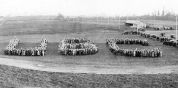 After marching on the Great Trek in 1922, students formed the letters 'UBC.'