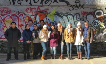 Claudia Launhardt with her students in the Downtown Eastside late last year.