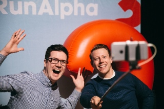 Ben Woodman (left) and Jason Ballard produced  Youth Alpha and are clearly still enthusiastic about Alpha products. Alpha Canada photo.