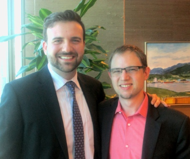 Derek Ross (left) leads the Christian Legal Fellowship and Geoffrey Trotter is an active member of the Vancouver chapter.