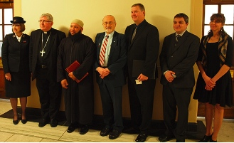 Speaking at the news conference were, from left: Bruce Clemenger, President of The Evangelical Fellowship of Canada; Imam Sikander Hashmi, Canadian Council of Imams; Commissioner Susan McMillan, Salvation Army; Rabbi Dr. Reuven P. Bulka, C.M., Congregation Machzikei Hadas, Ottawa; Dr. Caroline Girouard, MD, FRCPC, a hematologist - oncologist at the Hôpital du Sacré-Cœur, Montreal; and His Eminence Thomas Cardinal Collins, Roman Catholic Archbishop of Toronto, representing the CCCB.