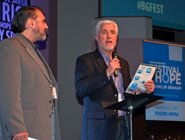 Festival of Hope executive director Giulio Gabeli (left) with Dave Ingram (*** *** ***). Photo by Frank King.
