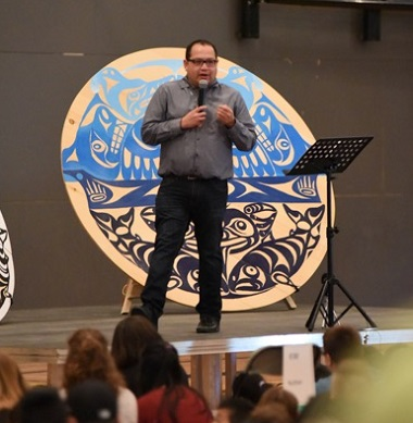 """Kwantlen First Nations artist Brandon Gabriel said, """"I've never felt so welcome in someone's home as I have here,"""" at Surrey Christian School."""