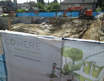 Excavation is under way at the Co:Here site, at 1st and Victoria.
