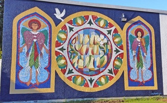 The new mural at St. Alban's by Joey Mallett. Photo by Larry Scherben ODNW.