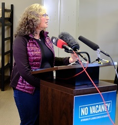 Bernie Pauly, one of the authors of 'No Vacancy,' spoke at UGM October 12.