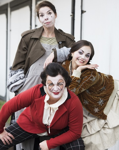 Lucia Frangione (bottom), Jess Amy Shead and Anita Wittenberg in Holy Mo! A Christmas Show. Photo by Damon Calderwood.