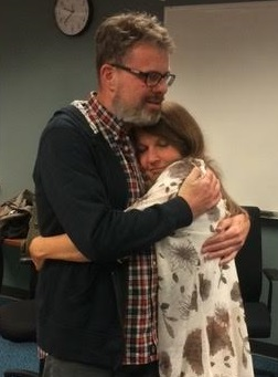 Kevin and Julia at the Vancouver airport September 15, right after he was released from prison.