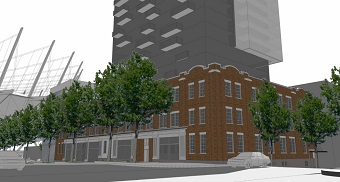 Early conceptual artistic rendering of the redevelopment at 118-150 Robson Street. (Image by: GBL Architects / Amacon)
