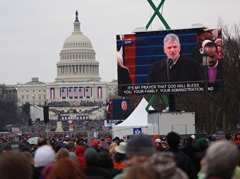 "Franklin Graham read a scripture at President Donald Trump's inauguration and prayer, ""It's my prayer that God will bless you, your family, your administration, and may He bless America."" Photo from BGEA site."