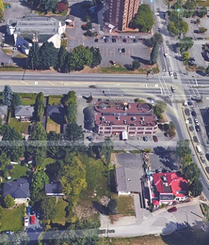 The Salvation Army is between Cliff Avenue (bottom of picture) and the Lougheed Highway.