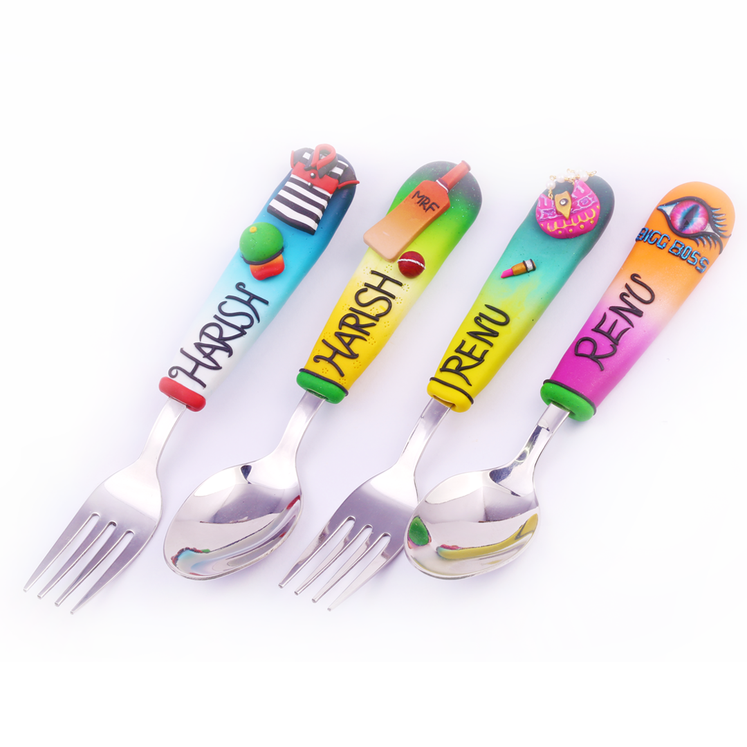 Customized Spoons Big Boss, Polo, Cricket (Set of 4)