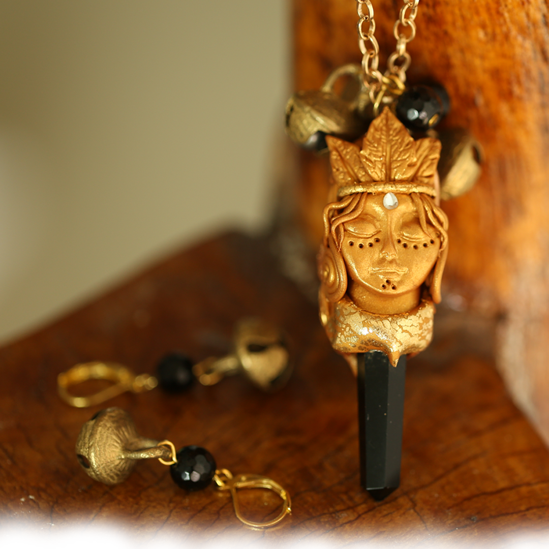 Black Tourmine Healing Crystal Gold  Tribal Face Jewelry