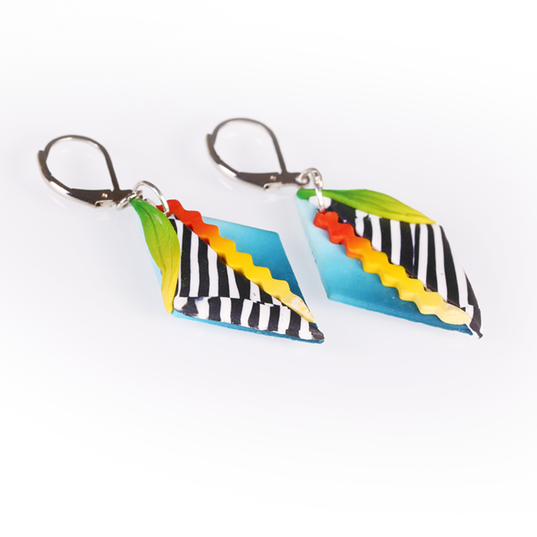 Black White Stripes Geometric Earrings