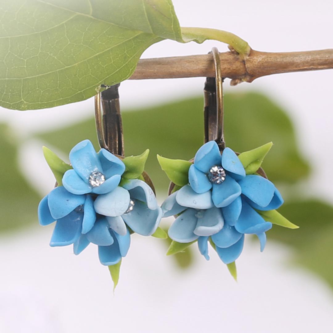 Blue Hydrangea Small Earrings