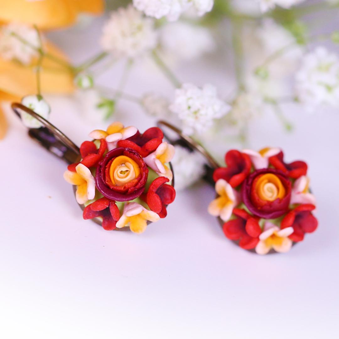 Dark Red Claret Rose Earrings