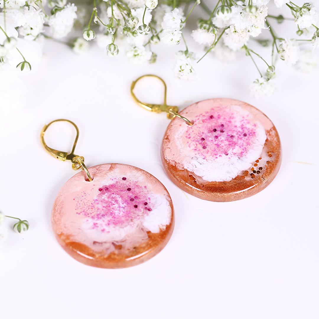 Gold White Pink Sparks Resin Earrings
