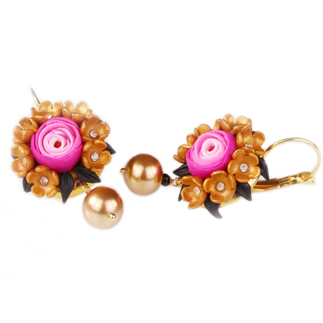 Golden Rosette Pink and Gold Rose Earrings