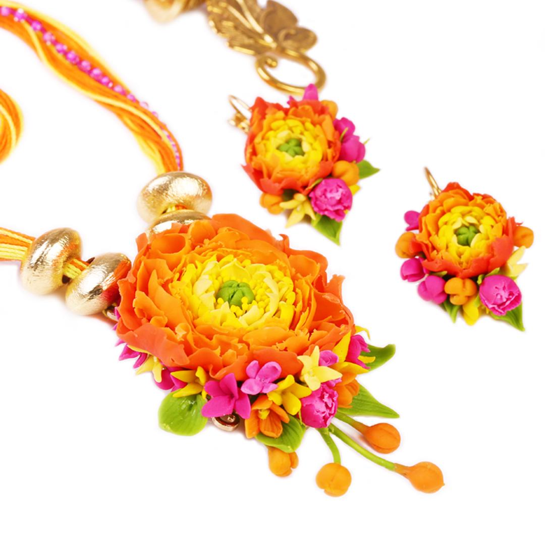Kashmakash Orange Yellow Peony Rose Set