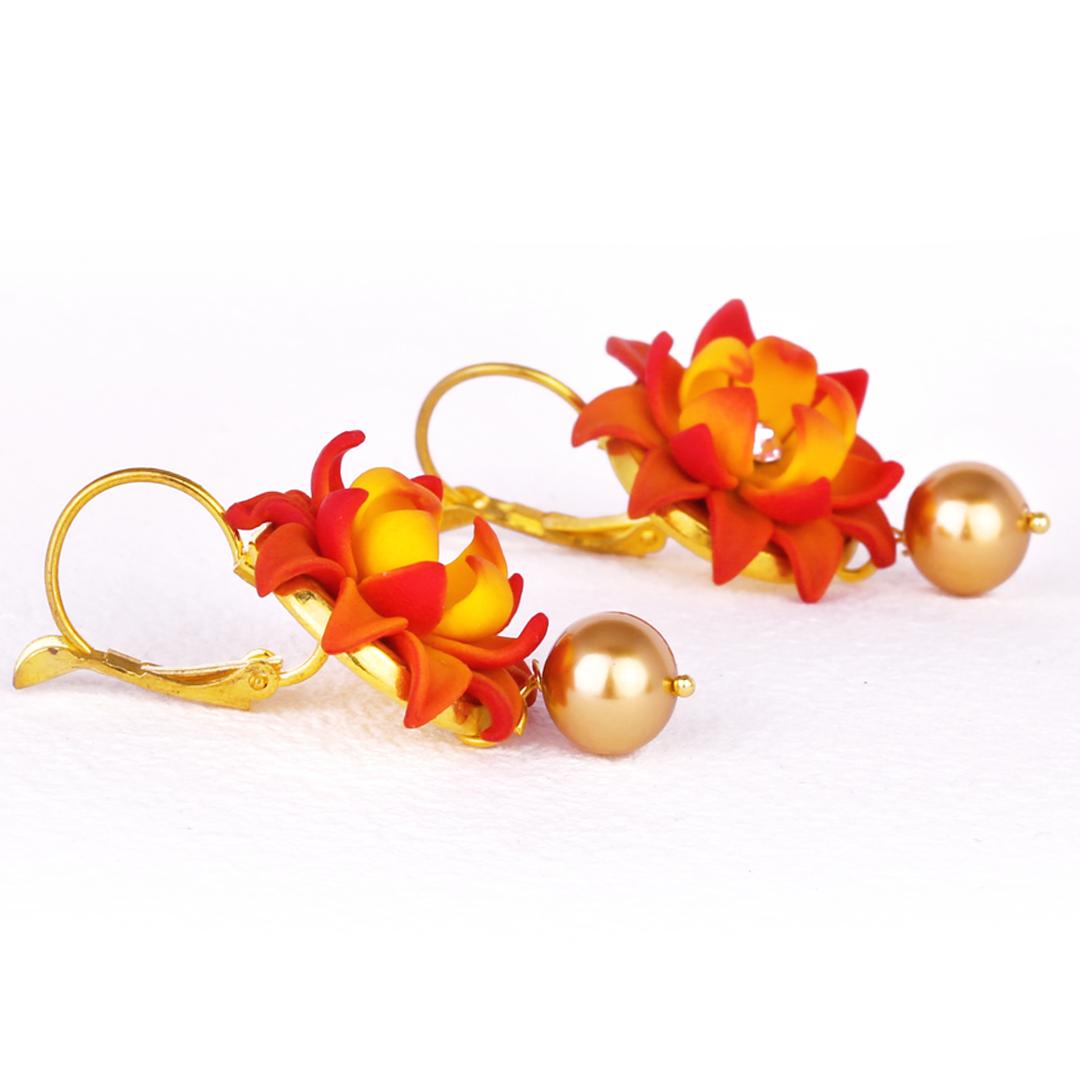 Lotus Jhumka with Golden Swarovski Pearl
