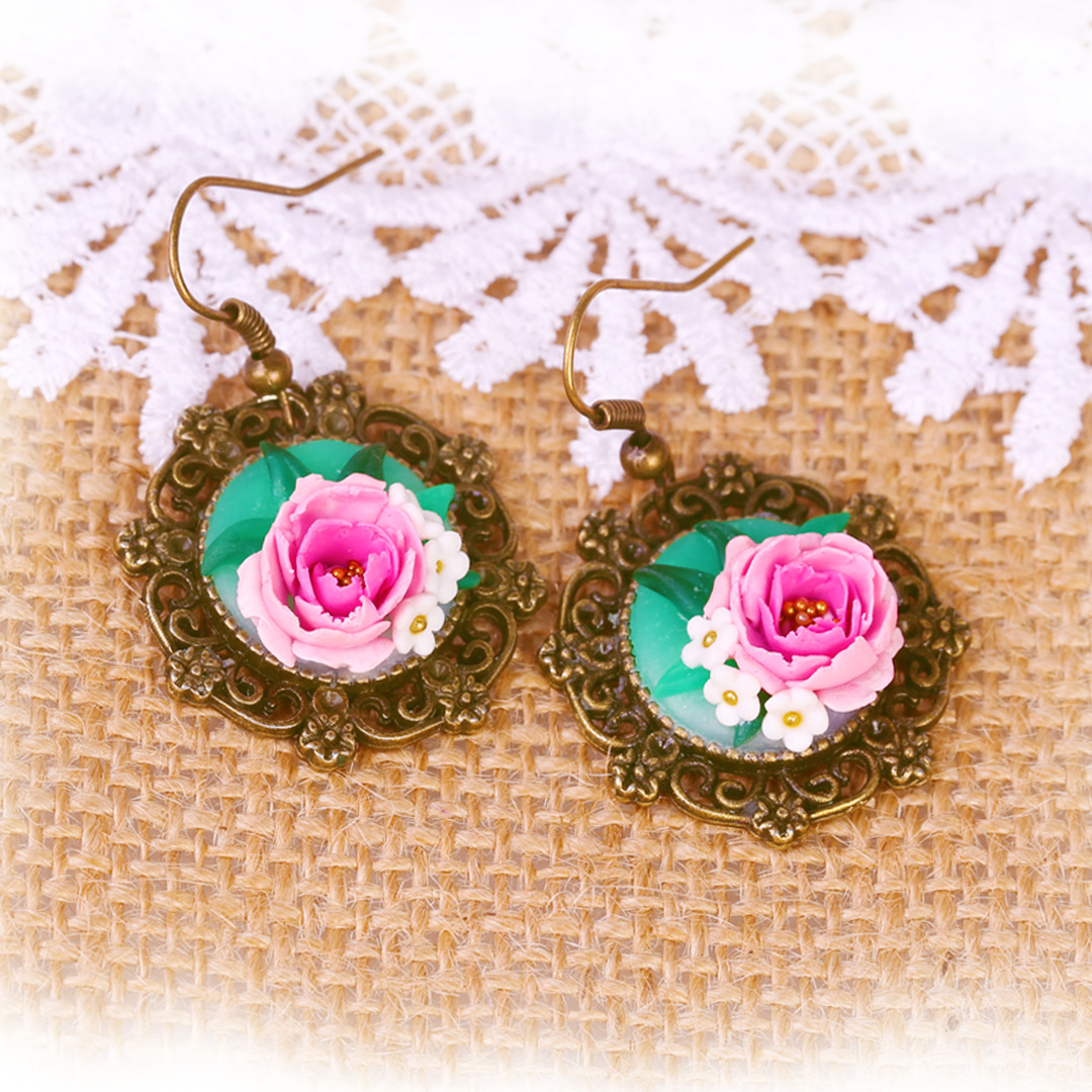 Mohabbet Pink Peony and Rose Earrings