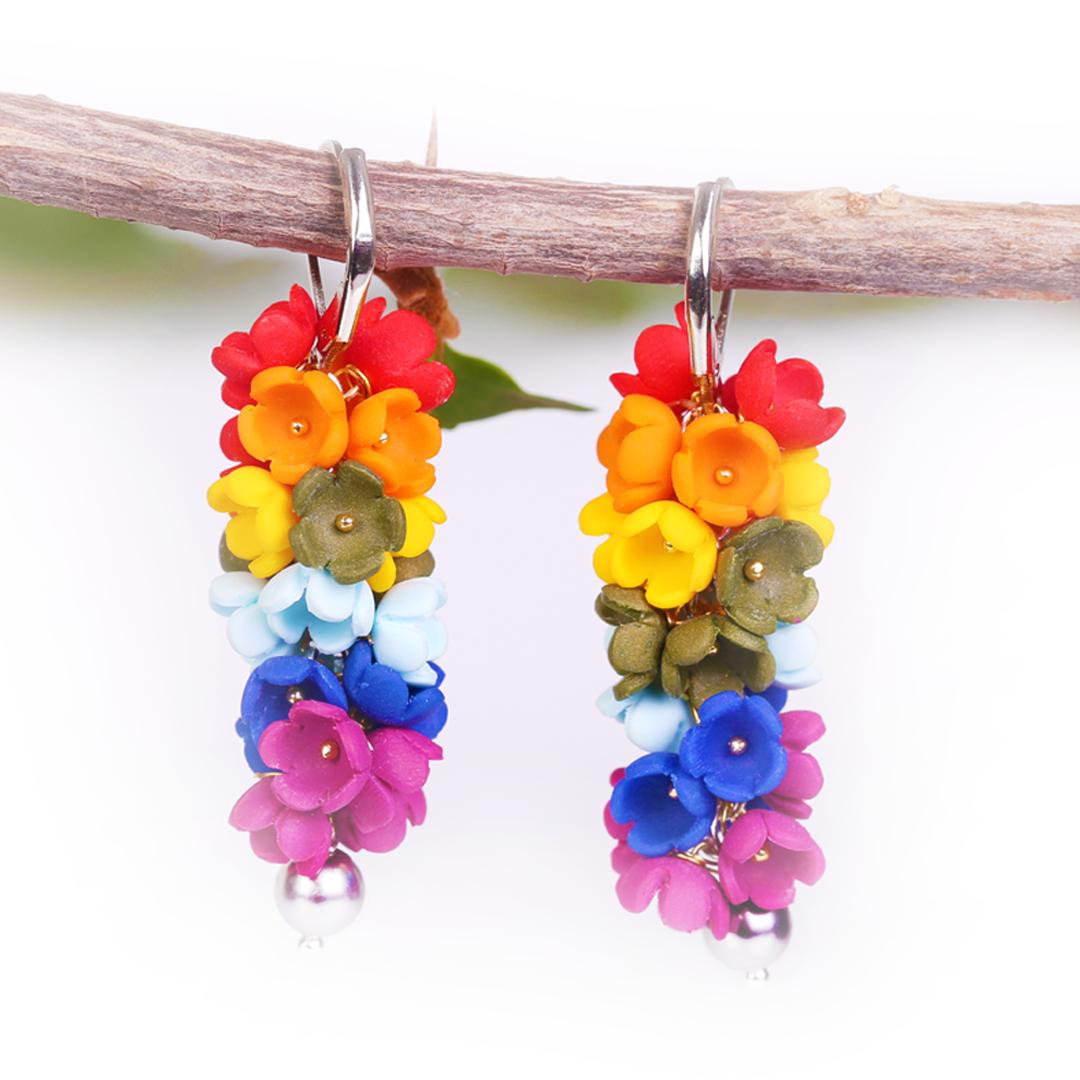 Multicolor Rainbow small flower Earrings