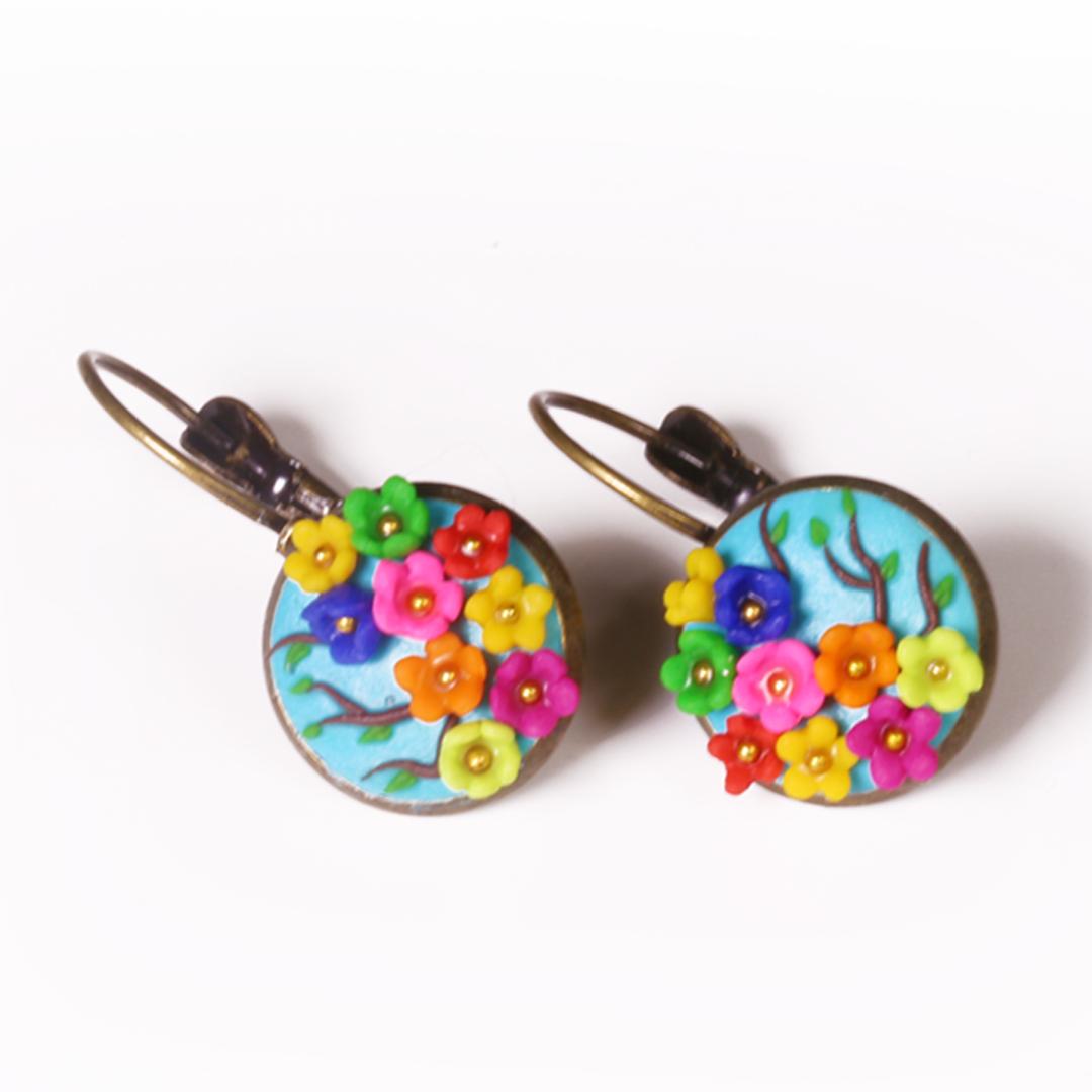 Multicolour Rainbow small flowers Earring